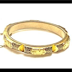 Vintage Pegasus Horse Bracelet Hinged Gold